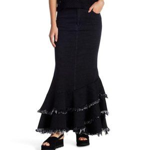 TOV HOLY Black Distressed Denim Tiered Maxi Skirt